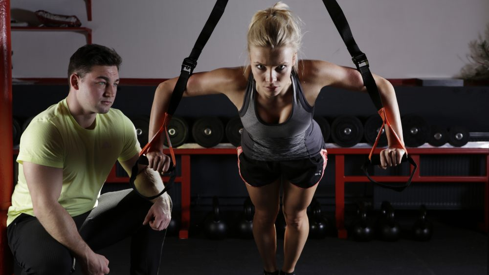 male and female excercising